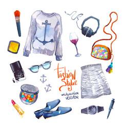 Set of trendy look watercolor vector