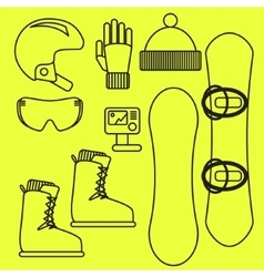 Snowboard gear line icon set vector image
