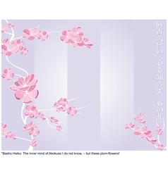 spring flower pattern with japanese haiku vector image vector image