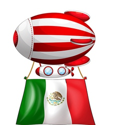 The flag of Mexico attached to a floating balloon vector image vector image