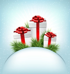 Three grayscale gift boxes with red bows pine vector image vector image