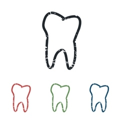 Tooth grunge icon set vector