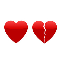 two red hearts whole and broken vector image vector image