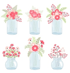 Wedding pink flowers in mason jars vector