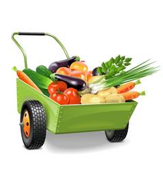 Wheelbarrow with Vegetables vector image vector image