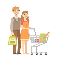 Young couple shopping for groceries with shopping vector