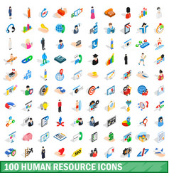 100 human resource icons set isometric 3d style vector image