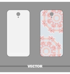 Phone with ornament pink flowers vector