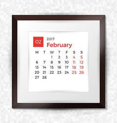 Realistic square picture frame with calendar for vector