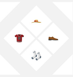 flat garment set of t-shirt male footware foot vector image