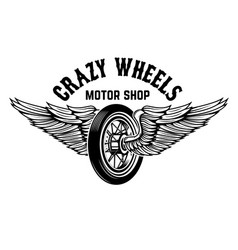 crazy wheels motorcycle wheel with wings isolated vector image