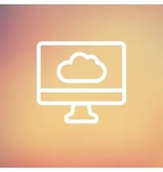 Monitor with cloud thin line icon vector