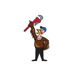Turkey plumber raising wrench standing cartoon vector