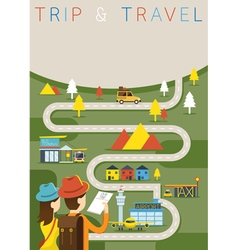 Couple tourist plan traveling route vector