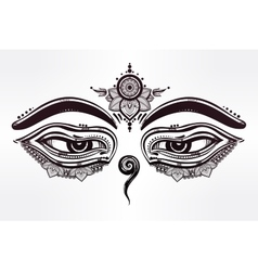 Eyes of Buddha wisdom symbol vector image