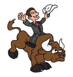 Businessman is riding bull vector