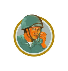 American Soldier Serviceman Calling Radio vector image