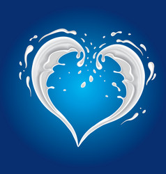 blue background with milk splash shape heart vector image vector image
