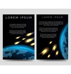 Brochure flyers with meteor shower vector