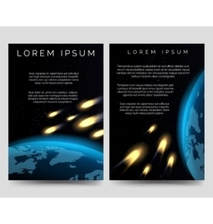 Brochure flyers with meteor shower vector image vector image