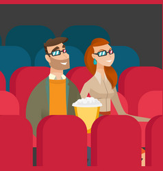 caucasian couple watching 3d movie in the theatre vector image vector image