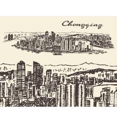 Chongqing hand drawn sketch vector image