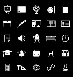 Classroom icons on black background vector