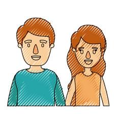 Color crayon stripe caricature half body couple vector