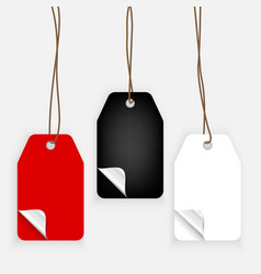 colorful realistic paper labels with curle corners vector image vector image