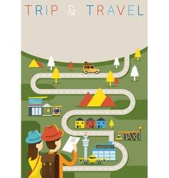 Couple tourist plan traveling route vector