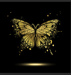 decorative golden butterfly vector image