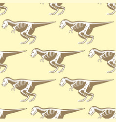 Dinosaurs skeletons silhouettes seamless pattern vector