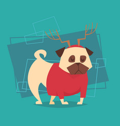 Dog wear reindeer horn and sweater happy new year vector