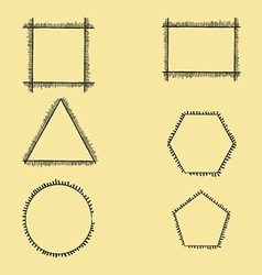Fringed geometric frames vector