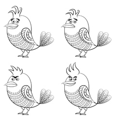 Funny Birds Set Contour vector image