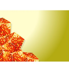Golden cubes over white and yellow background vector image vector image