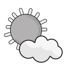 Grayscale sun and cloud cartoon character vector