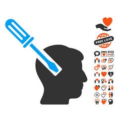Head screwdriver tuning icon with dating bonus vector