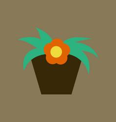 Icon in flat design flowering pot vector