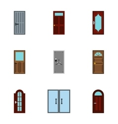 Interior doors icons set flat style vector