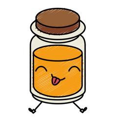 Mason jar with ingredient kitchen kawaii character vector