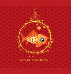 mid autumn festival chinese background with carp vector image vector image