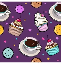 Pattern with cup coffee and cake vector