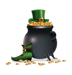 saint patricks day boot hat pot coins vector image