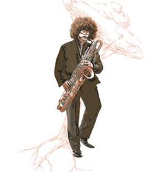 Saxophonist an young sax man playing saxophone vector