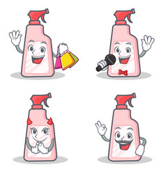 Set of cleaner character with shopping karaoke vector
