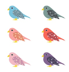 Set of colorful ornamental birds vector