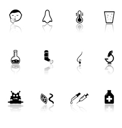 Sick icons set with mirror reflection silhouette vector