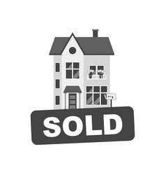 Sold sign with house home for rental in flat style vector