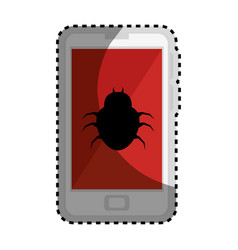 Sticker color silhouette with cell phone with vector
